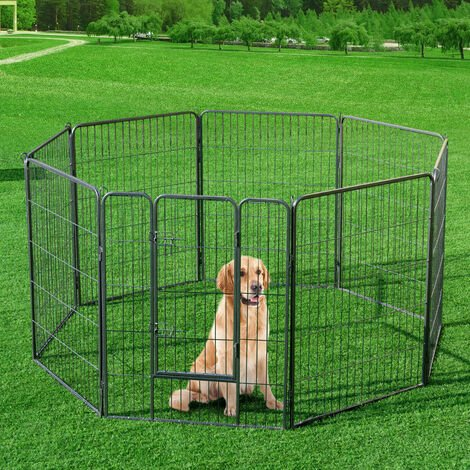 COSTWAY Parc pour animaux en métal pliable à 8 panneaux, enclos d'exercice pour chiots avec porte verrouillable