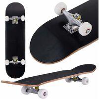 COSTWAY Planche à Roulettes Ovale en Bois d'Erable à 7 Couches Skateboard Couleur Noir 79x20cm Garçons et Filles Adultes