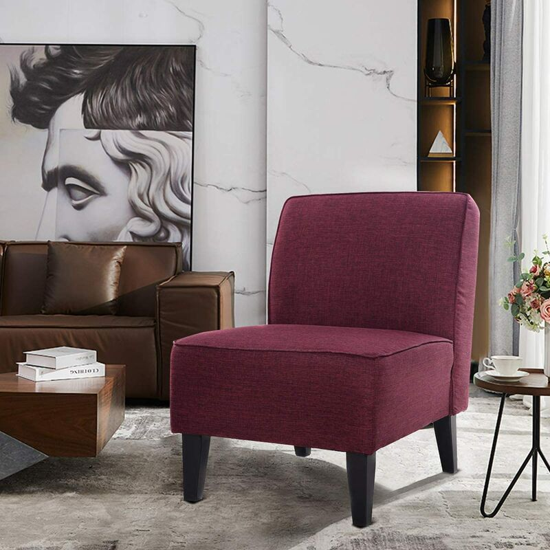 Polsterstuhl, Esszimmerstuhl gepolstert, Loungesessel ohne Armlehne, Designerstuhl mit eingebauten Sprungfedern, Akzentstuhl fuer Wohnzimmer,