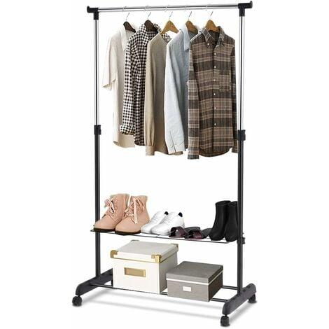 COSTWAY Portant à Vêtement Penderie à Vêtements Mobile Télescopique Hauteur et Largeur Réglables avec 4 Roulettes Noir et Argent