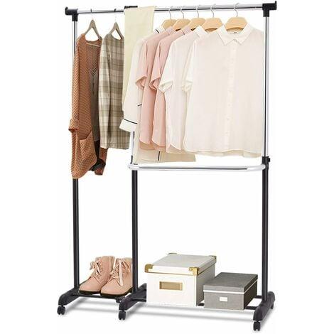 COSTWAY Portant à Vêtement Penderie à Vêtements Mobile Télescopique Hauteur et Largeur Réglables avec 6 Roulettes Noir et Argent