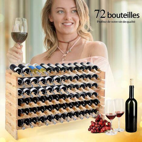 COSTWAY Porte-Bouteilles en Bois ?tagère à Bouteille Cave à vin Porte-Bouteilles pour 72 Bouteilles