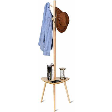 COSTWAY Porte-manteau sur Pied en Bois avec 4 Crochet à Vêtements et un étagère pour rangement Scandinave