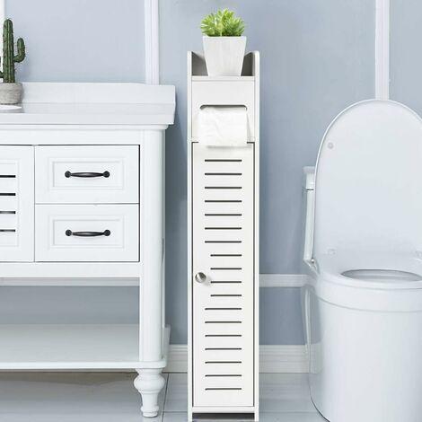 COSTWAY Porte-Papier Toilette Armoire Toilette Support de Brosse WC Meuble de Salle de Bain Sur Pied en MDF Blanc 15 x 17 x 80 CM (L x l x H)