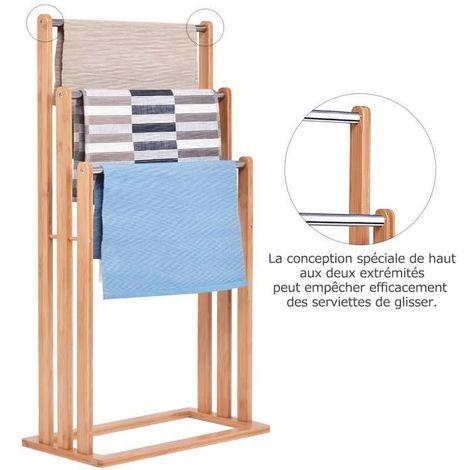 COSTWAY Porte-Serviettes avec 3 Barres Support pour Serviettes sur Pied en Bambou Portant Vêtements Accessoires de Salle de Bain Serviteur de Chambre 46 x 24 x 84 cm