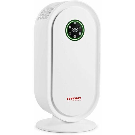 COSTWAY Purificateur d'air avec Filtre de Rechange en HEPA et Charbon Actif,Système de Capteur Intelligent Jusqu'à 40m²pour Eliminer Pollen