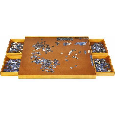 COSTWAY Puzzletisch mit 4 Schubladen, Puzzle Board Holz, mit ebener Arbeitsoberflaeche, 80x65cm fuer Puzzles mit 1000-1500 Teilen