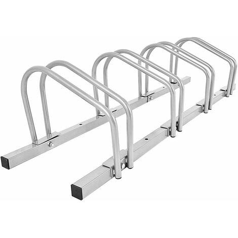 COSTWAY Râtelier 4 Vélos Porte-vélos Support de Plancher de Vélo Parking Résistant aux Intempéries Antirouille Cadre en Acier