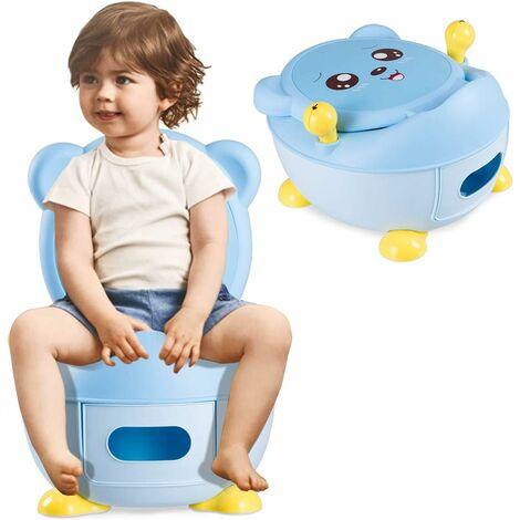 COSTWAY Réducteur de WC Toilette pour Enfants Siège de Toilette Entraineur de Toilette en Forme d'Ours Bleu