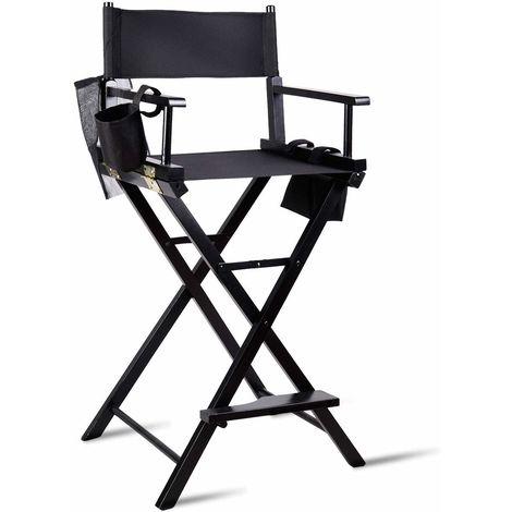 COSTWAY Regiestuhl hoch, Make-up Chair faltbar, Klappstuhl Holz, Faltstuhl mit Seitentaschen, Campingstuhl schwarz