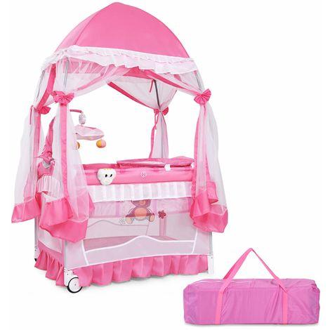COSTWAY Reisebett Babybett Kinderreisebett Babybettt Kinderbett Klappbett 2 Ebene mit Wickelauflage Himmel