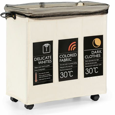 COSTWAY Rolling Laundry Basket with 3 Compartments and Mesh Cover, 120L Large Dirty Clothes Storage Organiser Sort Unit, Folding Laundry Hamper Cart for Bathroom Washing Room (Beige, 55 x 36 x 58cm)