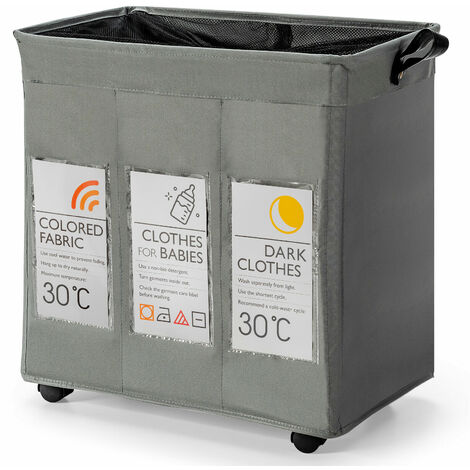 COSTWAY Rolling Laundry Basket with 3 Compartments and Mesh Cover, 120L Large Dirty Clothes Storage Organiser Sort Unit, Folding Laundry Hamper Cart for Bathroom Washing Room (Grey, 55 x 36 x 58cm)