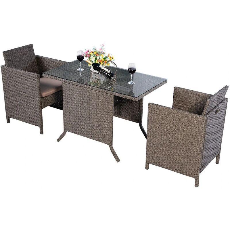 Salon de Jardin 2 Places en Rotin : 2 Fauteuils + 1 Table avec Verre + 2 Coussins d'Asises Brun - Costway