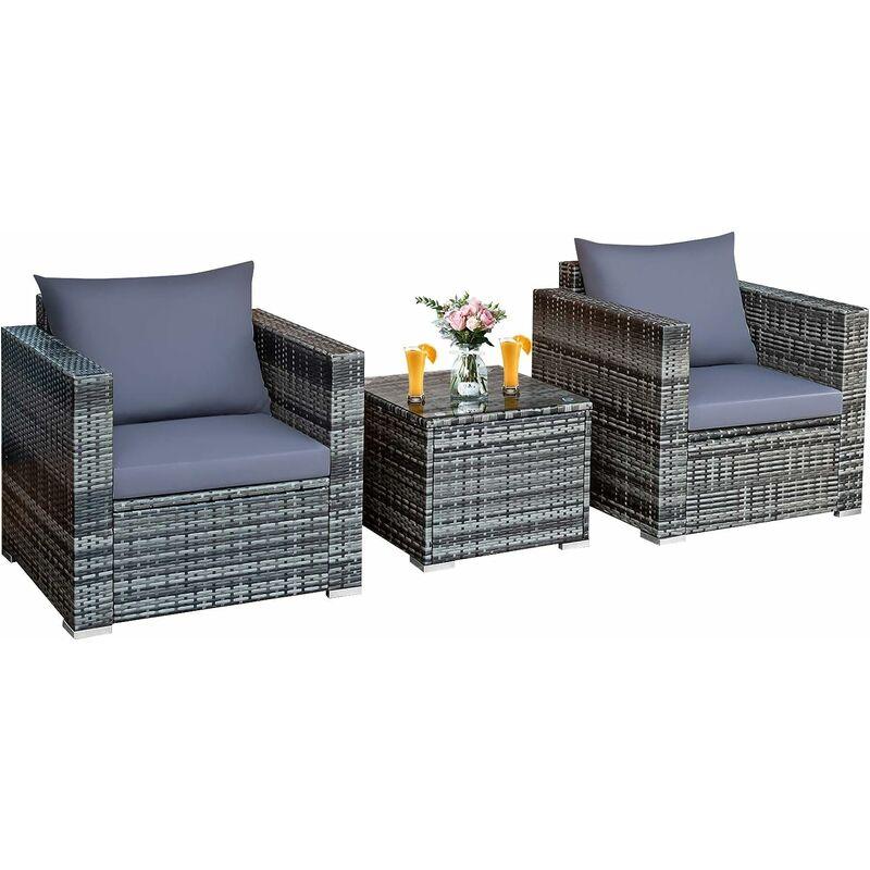 Salon de Jardin en Rotin 3 Pièces 2 Places avec Coussins Lavables 1 Table Basse en Verre Trempé - Costway