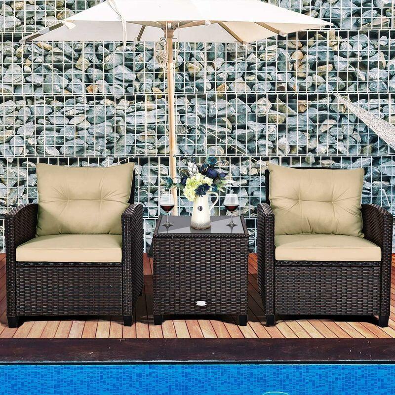 Salon de Jardin en Rotin PE 3 Pièces 2 Places avec Coussins Lavables 1 Table Basse en Verre Trempé - Costway