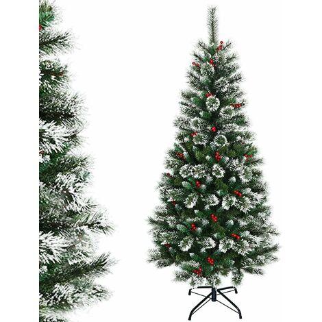 COSTWAY Sapin de Noël Artificiel 210cm avec Flocons de Neige avec Baies Rouges Dense,Base en Métal 100% PVC Décoration de Vacances