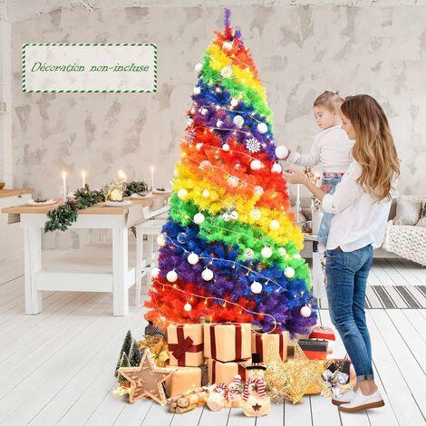 """main image of """"COSTWAY Sapin de Noël Artificiel 210CM Couleurs Arc-en-ciel en PVC avec Support en Métal Pliable 1213 Pointes de Branches pour Noël"""""""