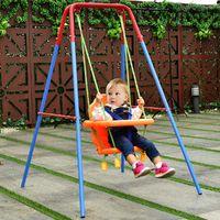 COSTWAY Schaukel Kinderschaukel Babyschaukel Gartenschaukel Schaukelsitz Babyschaukelsitz mit Schaukelgeruest