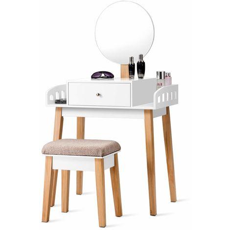 COSTWAY Schminktisch mit Hocker, Frisiertisch Set mit Schublade, Frisierkommode weiss, Kosmetiktisch mit Spiegel