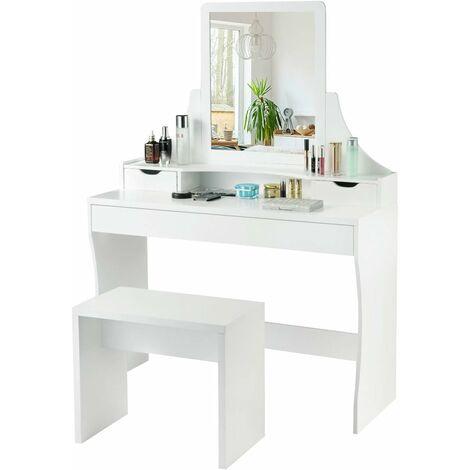 COSTWAY Schminktisch Weiss, Make-up Tisch, Frisiertisch Holz, Frisierkommode, Kosmetiktisch mit Spiegel und Hocker, Schminkkommode mit 3 Schubladen