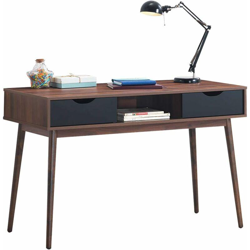Schreibtisch mit offenem Fach und 2 Schubladen, Computertisch aus Holz, Arbeitstisch Vintage, Bueürotisch, PC-Tisch fuers Wohnzimmer, Arbeitszimmer,