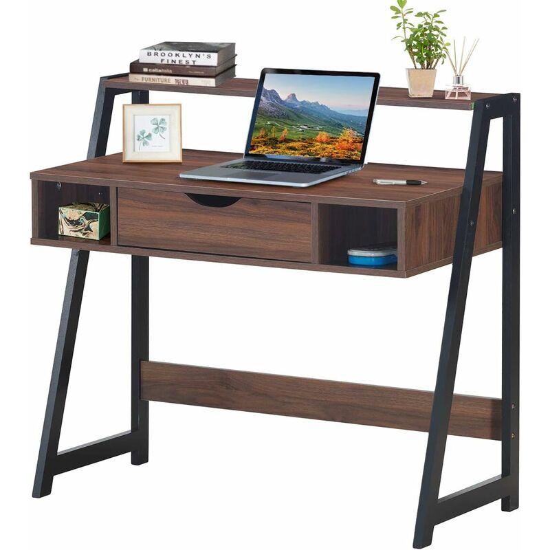 Schreibtisch mit Schublade, Ablage und 2 offenen Faechern, Computertisch aus Holz, Arbeitstisch Industrie, Buerotisch, PC-Tisch fuers Wohnzimmer,