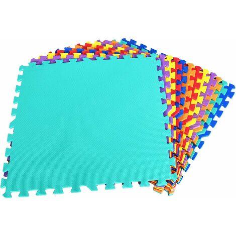 COSTWAY Schutzmatte 12 Stueck, Bodenschutzmatte je 60x60x1cm, Puzzlematte aus Eva, Spielmatte fuer Babys und Kinder, Steckmatte Fitnessmatte bunt