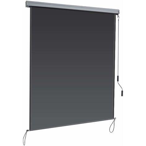 COSTWAY Senkrechtmarkise Sichtschutzrollo Fensterrollo, Sichtschutz Sonnenschutz Windschutz, mit Aluminiumrahmen 1,4x2,5m/dunkelgrau