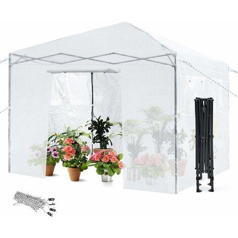 COSTWAY Serre de Jardin Portable 23m³ 3x3x2,56M avec 4 Fenêtres d'Observation,Porte Enroulable Couvercle en PE Imperméable