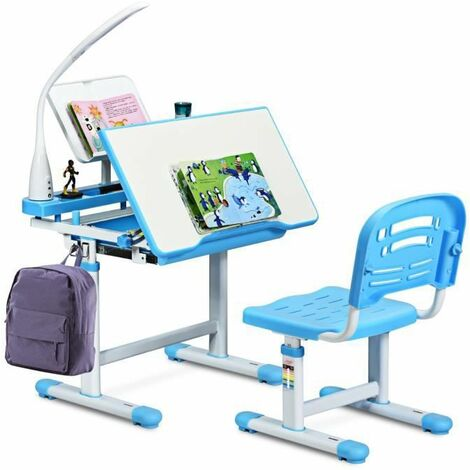 COSTWAY Set Bureau et Chaise pour Enfants avec Lampe LED,Bureau Inclinable 0°-40°,Hauteur Réglable,Charge Maximale 80KG Bleu