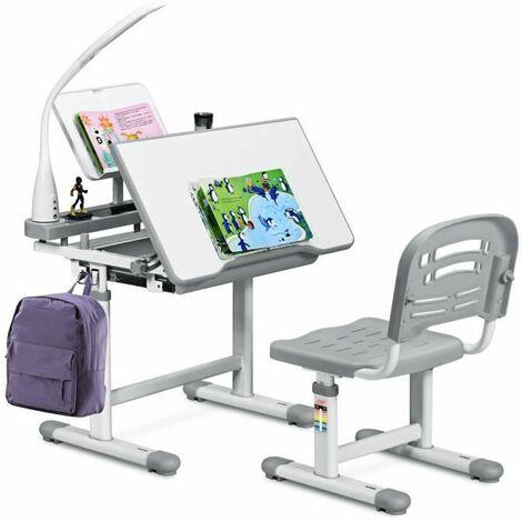 """main image of """"COSTWAY Set Bureau et Chaise pour Enfants avec Lampe LED,Bureau Inclinable 0°-40°,Hauteur Réglable,Charge Maximale 80KG Gris"""""""