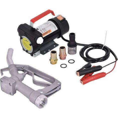 COSTWAY Set de moto pompe diesel Pompe à mazout Pompe à huile 12V 40L / min avec buse et des accessoires