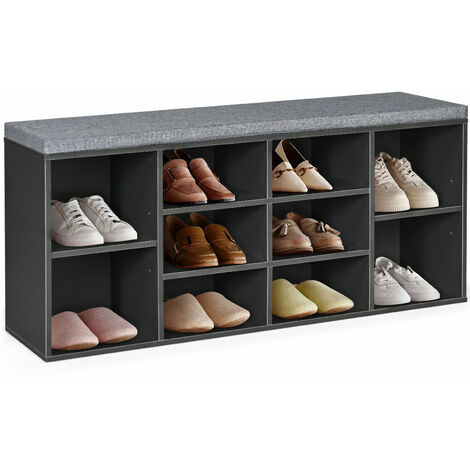 COSTWAY Shoe Storage Bench, 10 Compartments Shoe Organiser Seater Stand with Cushion, Hallway Entryway Bedroom Living Room Shoes Rack Stool, 104 x 30 x 48cm