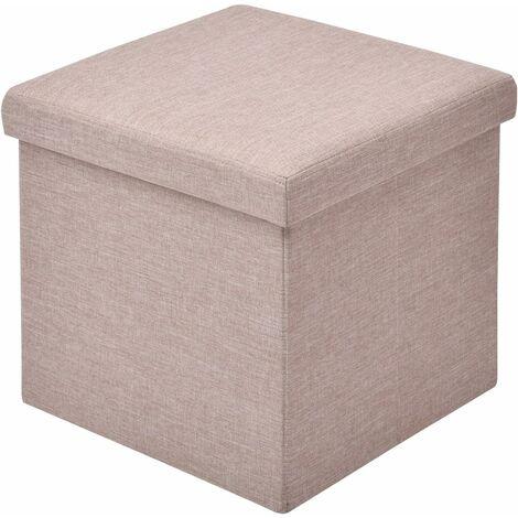 COSTWAY Siège de Rangement Boîte Coffre de Rangement Pliable Banc Pliant Cube Pouf Tissu Oxford + Panneau MDF38 x 38 x 38 cm Beige