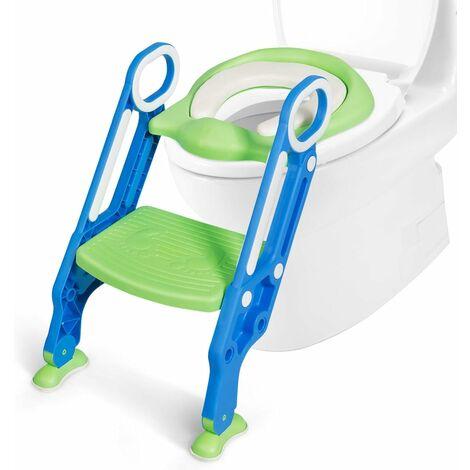 COSTWAY Siège de Toilettes Echellepour Bébé Réglable et Pliable avec Siège Rembourré,Large Marchepied Charge Max.75KG Bleu+Vert