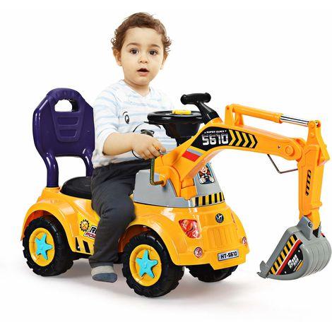COSTWAY Sitzbagger fuer Kleinkinder, Kinderfahrzeug mit Zwei Schaufeln, Kinderauto Bagger, Kinderbagger Sandbagger Schaufelbagger, Aufsitzbagger gelb