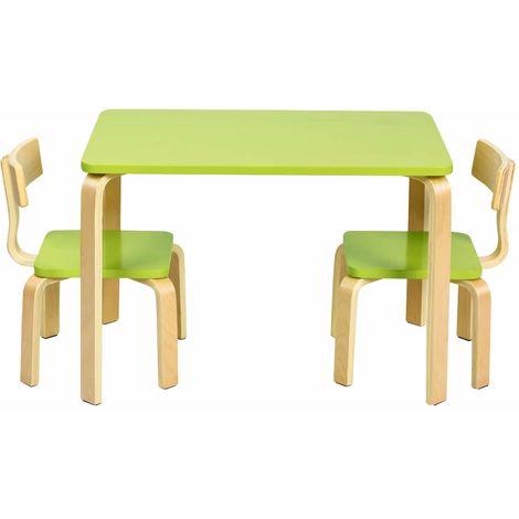 COSTWAY Sitzgruppe Kinder, 3tlg. Kindersitzgruppe, Kindermoebel aus Holz, Kindertisch mit 2 Kinderstuehlen, Kindertischgruppe gruen