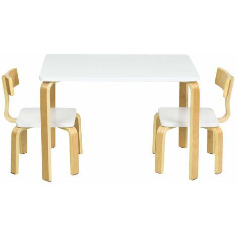 COSTWAY Sitzgruppe Kinder, 3tlg. Kindersitzgruppe, Kindermoebel aus Holz, Kindertisch mit 2 Kinderstuehlen, Kindertischgruppe weiss