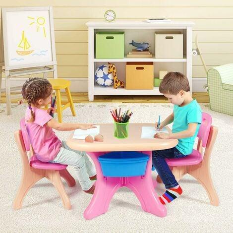 COSTWAY Sitzgruppe Kinder, 3tlg. Kindersitzgruppe, Kindertisch mit 2 Kinderstuehlen, Kindertischgruppe PE, mit Aufbewahrungsboxen