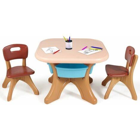 COSTWAY Sitzgruppe Kinder, 3tlg. Kindersitzgruppe, Kindertisch mit 2 Kinderstuehlen, Kindertischgruppe PE, mit Aufbewahrungsboxen Braun