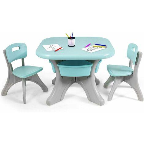 COSTWAY Sitzgruppe Kinder, 3tlg. Kindersitzgruppe, Kindertisch mit 2 Kinderstuehlen, Kindertischgruppe PE, mit Aufbewahrungsboxen Gruen