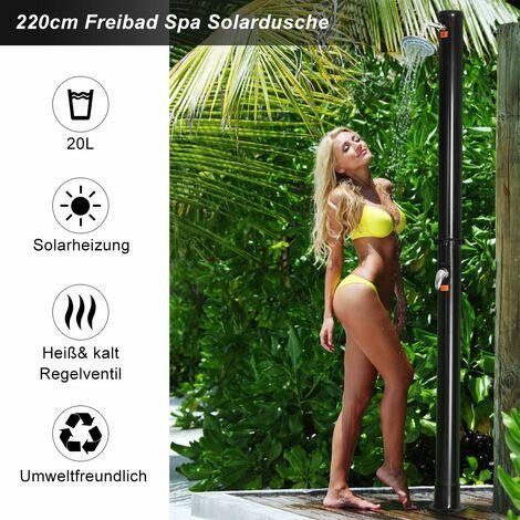 COSTWAY Solardusche Gartendusche Au?endusche Pooldusche Solar Dusche Campingdusche mit Regenduschkopf 20L