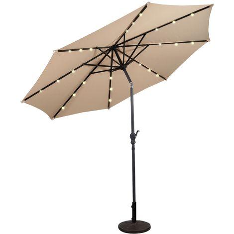 COSTWAY Sonnenschirm mit Solar- LED-Beleuchtung Ampelschirm Gartenschirm Kurbelschirm Strandschirm Garten Schirm 3M Beige