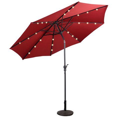 COSTWAY Sonnenschirm mit Solar- LED-Beleuchtung Ampelschirm Gartenschirm Kurbelschirm Strandschirm Garten Schirm 3M rot