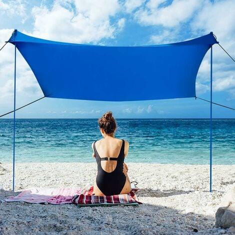 COSTWAY Sonnensegel Sonnenschutz mit 4 Sandsaecken und 2 Alustangen Lycra Sonnendach Strandmuschel fuer Strand, Camping