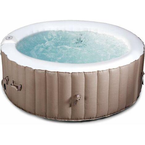 COSTWAY Spa Gonflable pour 4 Personnes 800L 180X180X65CM Gonflage Automatique Chauffage,Massage à Bulles,Système de Purification de l'Eau