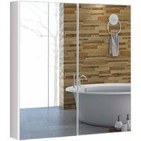 COSTWAY Spiegelschrank Badezimmer, Badezimmerspiegel, Badezimmerspiegelschrank weiss, Wandschrank mit Spiegel, Haengeschrank