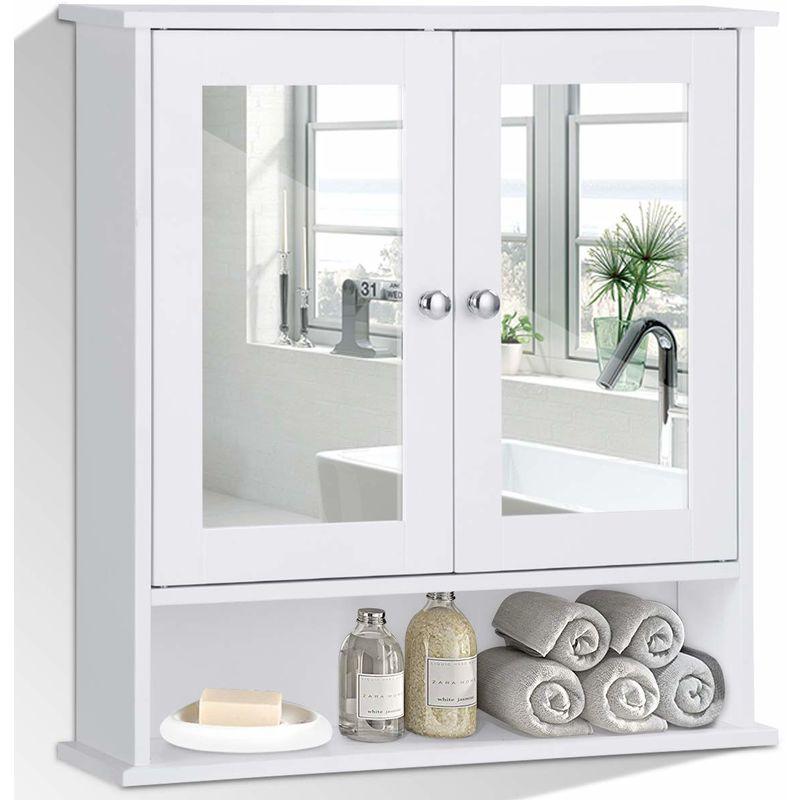 Costway Spiegelschrank Badezimmer Badschrank Mit Spiegel Badezimmerschrank Weiss Badezimmerspiegel Mit Ablage Haengeschrank Badmoebel