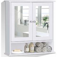 COSTWAY Spiegelschrank Badezimmer, Badschrank mit Spiegel, Badezimmerschrank weiss, Badezimmerspiegel mit Ablage, Haengeschrank Badmoebel, Badezimmerspiegelschrank 58,5x56,5x13,5cm